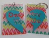 Chevron Derby Wife Bag Tags/Key Chains, set of two, wifey, gifts, derby marriage
