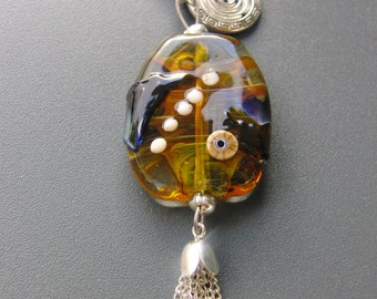 Lampwork bead charm for necklace or key  sra