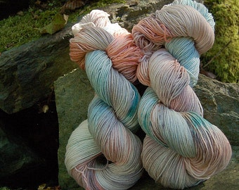 Handpainted sock yarn, fingering yarn, Superwash Merino Tencel Nylon, 100 grams-Delos