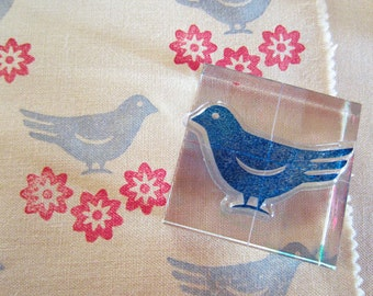 Clear Stamp Set, Bird Stamp, Flower Embellishment, Paper Crafts, Fabric Printing Stamps