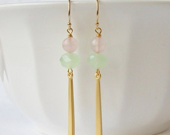 Pink and Green Earrings,Rose Quartz Jewelry