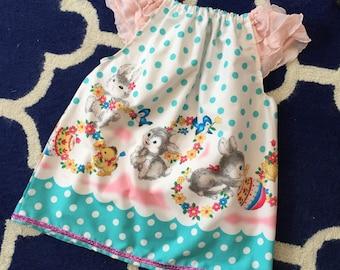 Girls Easter Dress - bunny picnic Peasant dress, spring dress, Handmade peasant dress, ruffles, girly dress, pastel dress, markoos