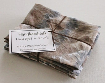 Hand Dyed Handkerchiefs - Mens Cotton Hankies - Set of 3 - Black Brown Tan Cream Gray Grey White Tie Dye Handkerchief Pocket Square