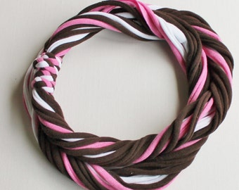 T Shirt Scarf - Infinity Circle Scarves Recycled Cotton - Neapolitan Rose Stonewashed Pink Bubblegum Dark Brown Chocolate White Strawberry