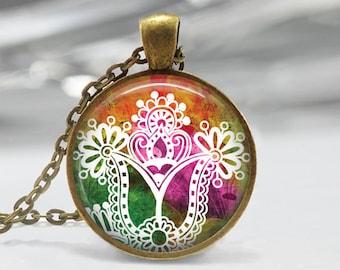 Paisley Glass Pendant - Jewelry -  Paisley Necklace - Art Pendant - Necklace -Paisley Charm,Pendant