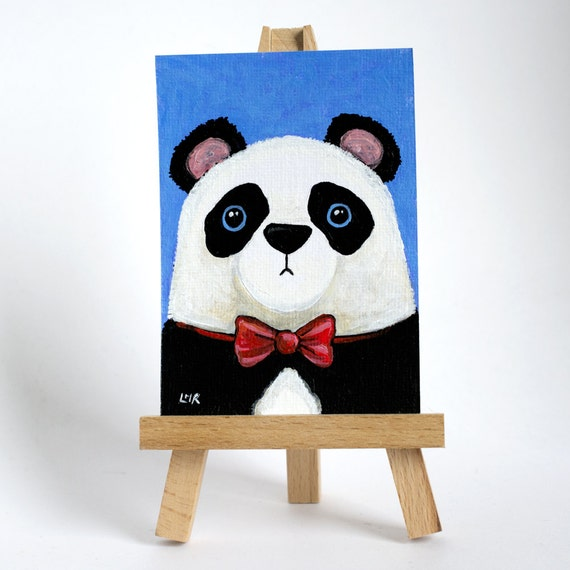 Original ACEO Panda Bear wearing a Red Bow Tie - Whimsical Art Illustration