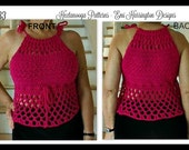 CROCHET Halter Top PATTERN - all sizes child to plus size adult, easy pattern, great fit.  child, teen, adult, plus size, oversized, #1035