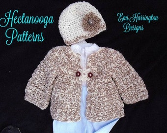 BABY CROCHET PATTERN - Baby and Child Cardigan sweater set- Newborn to Age 4 - Sweater and Hat - Flower Button Closure - # 800