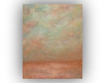 Peach and Gray Abstract Landscape- 24 x 30 Field Sky and Clouds Oil Painting- Original Palette Knife Art on Canvas