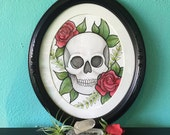 Skull Rose Original by Cora Rountree