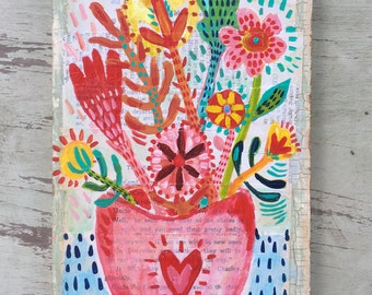 Small Mixed Media Floral Painting on Reclaimed Wood