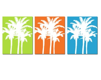 Palm Tree Wall Art Trio Palm Trees Set Of 3 Prints For Beach House Decor   Part 60