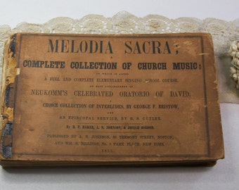 Antique HYMNAL- Church Music 1853- Sepia Toned Pages- Old Music Notes- Collage Supply