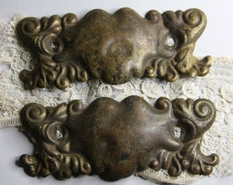 Salvaged Furniture Metal Escutcheon DRAWER PULLS- Vintage Hardware- 2 Matching with Worn Patina