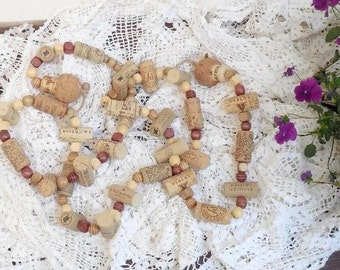 Cork GARLAND Wood Bead Rope Decor (Wine Bottle Corks, Cork Bottle Stoppers, Wooden Beads) Hand Crafted (MR4)