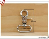 1 inch wide inside nickel Swivel snap hook high quality for making bags   6 pcs per bag purse findings J10