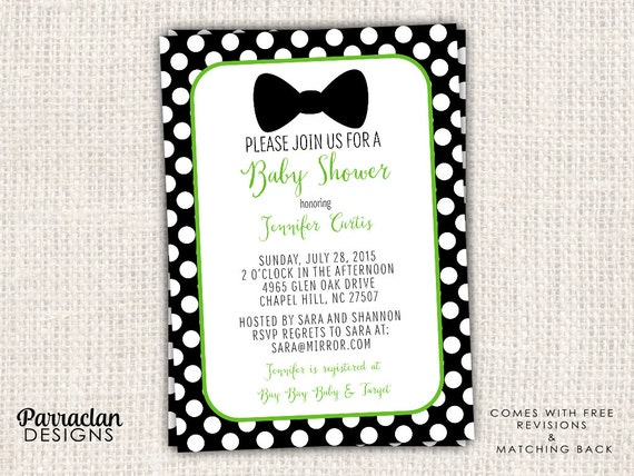 Bow Tie Baby Shower Invitation, Bow Tie Baby Shower, Printed, Printable, Digital, BS4