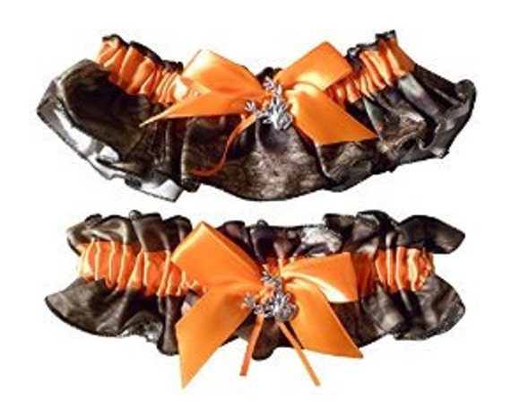Mossy Oak Garter Bridal Bride Garter SET Camouflage Wedding All accessories Orange casing