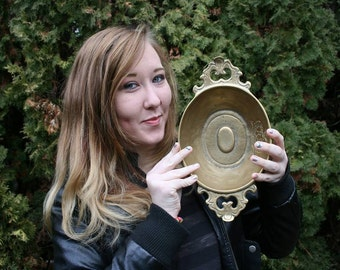 FREE SHIPPING RARE vintage brass bowl incredibly heavy mysterious interesting intriguing oddities (Vault 26)