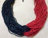 Vintage Kenneth Jay Lane Necklace Beaded multi strand twisted 2 Tone
