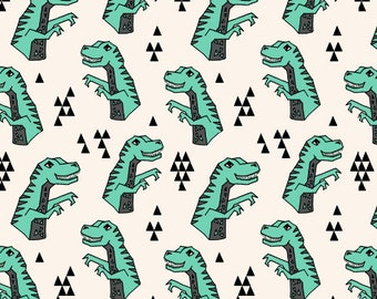 Dinosaur Fabric Dinosaurs Green T Rex Tyrannosaurus Rex Prehistoric Kids Boys By Andrea Lauren Cotton Fabric By The Yard with Spoonflower