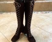 RESERVED Magda Vintage 1960s Lace Up GoGo Knee Hi Boots