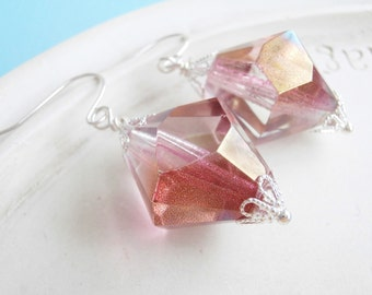 Pink Sparkly Crystal Holiday Earrings