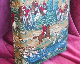 Foxhunting 3-Ring Fabric Covered Binder Blue/Green Tone Fabric....choose size