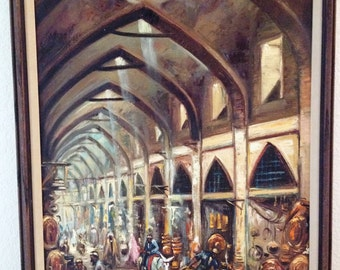 Vintage JAKARTA Market Mall or Souk Oil Painting on Canvas in Wood Frame SIGNED