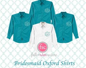 Bridesmaid oxford shirts, monogrammed oxford shirts, getting ready shirts, bridal party gifts , wedding day shirts ,
