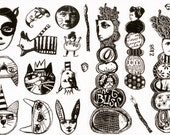 MOUNTED Rubber Stamp Set Z108 - Cairns and Cats and Cool Stuff