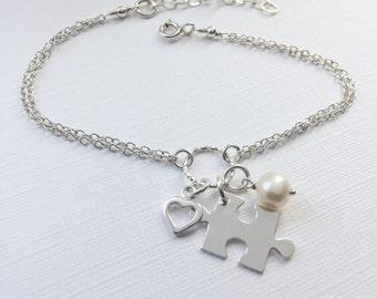 Puzzle Piece Bracelet in Sterling Silver - Adjustable Jigsaw Bracelet, Autism Awareness Bracelet