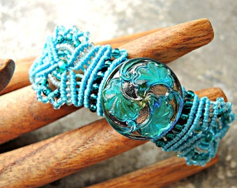 Aqua Blue Macrame Bracelet with Czech Glass Button - Micro Macrame Bracelet - Intricate Knotted Bracelet