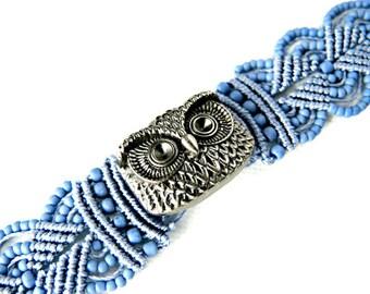 Owl Macrame Bracelet in Blue - Micro Macrame Bracelet - Owl Bracelet - Blue Bracelet - Macrame Bracelet - Bird Bracelet