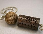 Vintage Chinese Ornately Carved Dark Brown Wood Barrel Bead Fan Light Pull, Vintage Brass Tea Strainer Bead