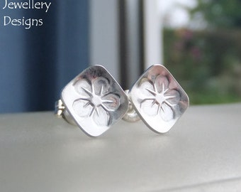 Sterling Silver Stud Earrings - FLOWER SQUARES 2 - Little Flowers Studs - Hand Stamped Textured Metalwork Jewelry - Shiny or Oxidised