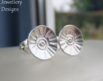 Sterling Silver Stud Earrings - RUSTIC FLOWER DISCS (Daisy 1) - Handmade Hand Stamped Textured Flowers Metalwork Jewelry - Shiny or Oxidised