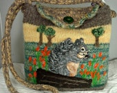 VALENTINE  SALE Felted Purse, Felted Handbag,Felted Squirrel,squirrel art,handmade knitted purse