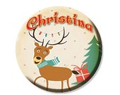 """50% OFF - Personalized Name Reindeer Pocket Mirror, Magnet or Pinback Button - Party Favors 2.25"""" MR472"""