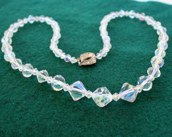 Bicone AB Crystal Necklace Vintage Wedding Prom Formal