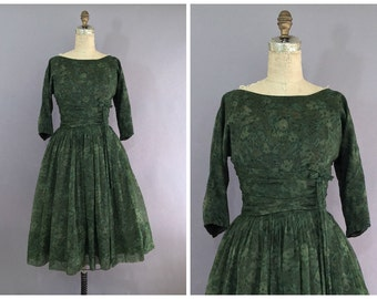 green 1950s party dress • vintage cocktail dress