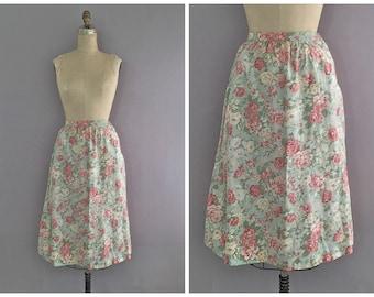 floral midi skirt • vintage floral skirt
