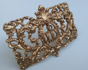Gorgeous Ornate Belt Buckle with Crown and Mini Rhinestones for Repurposing or Jewelry Assemblage, Scarves Etc