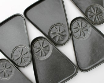 Bennington Potters Plates, Mid Century Modern David Gil Cooperative Design, Spark Logo, Snack Plate Set, Vintage Pottery Plates