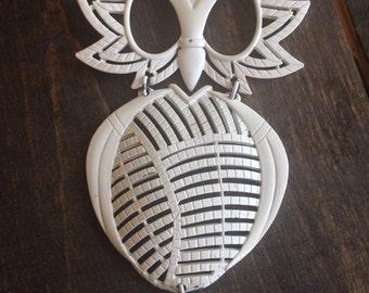 Vintage White Metal Owl Hipster Retro Style Pendant Beading Supplies