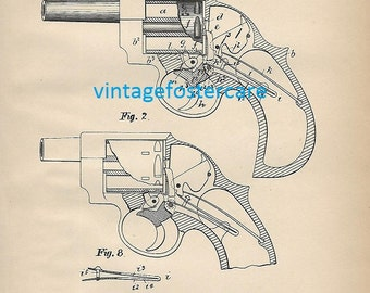 Antique Lithograph of a 1890 Gun Patent by John Carter and John Whiting