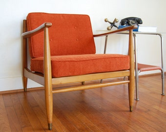 SALE Mid Century Modern Arm Chair Slatted Back