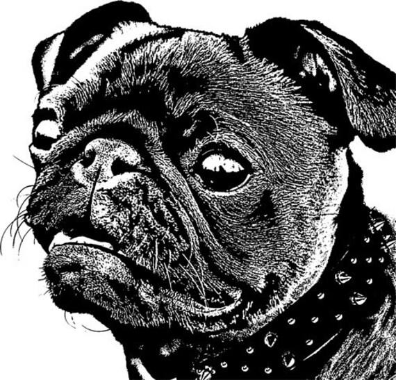 black pug dog puppy spike collar printable wall art clipart png jpg Digital graphics Image Download animal illustration digital stamp pets