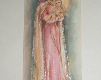 Vintage Christmas Card - Mary Holding Baby Jesus - Glittery Card - Religious Card - Vintage Hallmark Card - Hallmark Slim Jims Card - 1960's