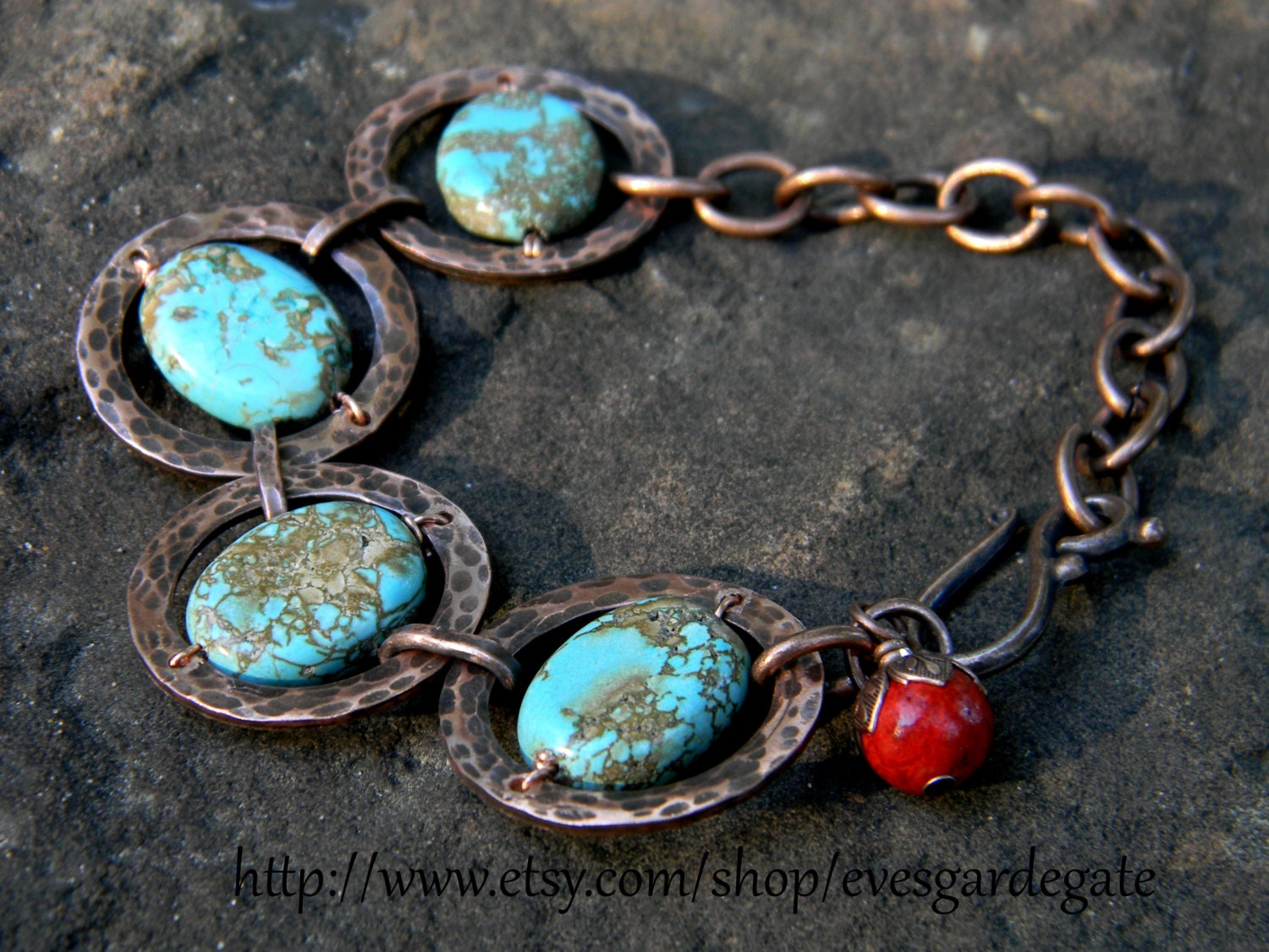handcrafted copper bracelet turquoise colored magnsite and